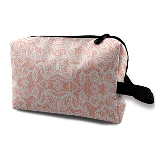 Kinbvo Coral Sprigs and Blooms Coordinate Lace Portable Travel Makeup Cosmetic Bags Organizer Multifunction Case Toiletry Bags