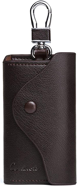 Unisex Genuine Leather Keychain Key Card Zipper Bag Case with 6 Hooks Snap Closure