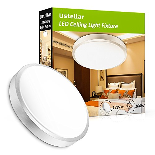 Ustellar 1000lm 12W LED Ceiling Lights Fixture Flush Mount ,100W Incandescent Bulbs Equivalent, 10in 3000K Warm White Ceiling Lamp for Bathroom Living Room Hallway Office Bedroom Kitchen