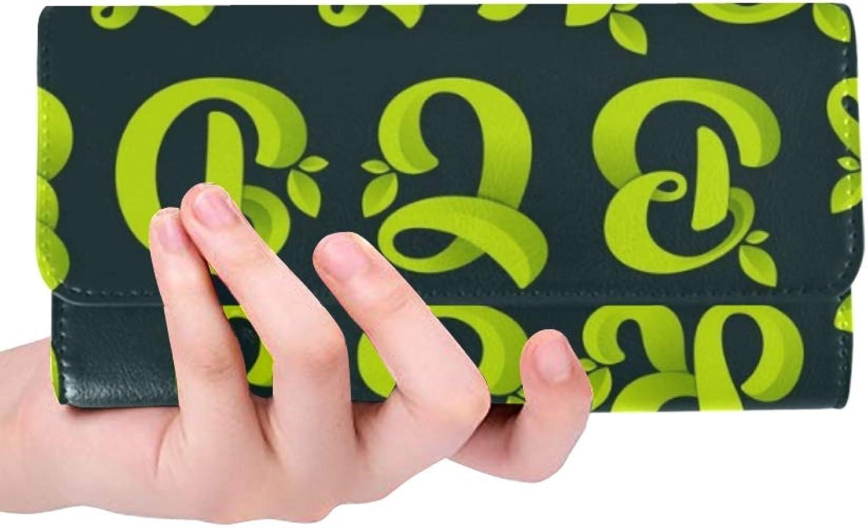 Einzigartige Custom Alphabet Grün Blätter Vektor Ökologie Elemente Elemente Elemente Frauen Trifold Brieftasche Lange Geldbörse Krotitkarteninhaber Fall Handtasche B07Q85XHX3 d12a10