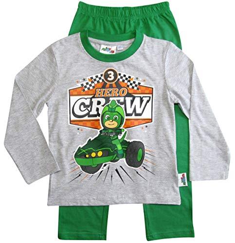 PJ Masks Pyjamahelden Schlafanzug Pyjama Jungen Gecko (Grau-Grün, 116)