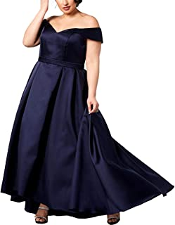 Womens Plus Off-The-Shoulder Ball Gown Formal Dress