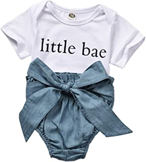 Honykids Baby Girl Boy Clothes Little Bae Romper+ High Waisted Denim Bloomers Outfits