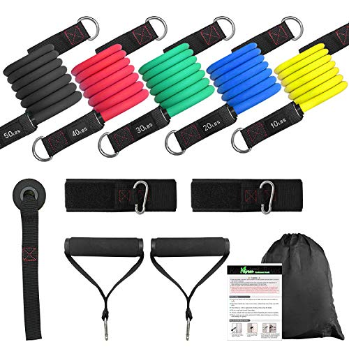 NGreen Exercise and Resistance Bands Set - Homegym Stretching Fitness Tube with Door Anchor, Ankle Straps and Handles, Workout Bands for Muscle Build up, Crossfit, Yoga, Pilates, Physical Therapy (150 lbs)