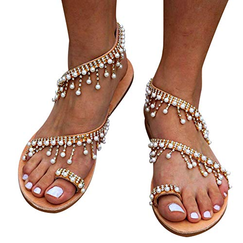 Desirepath Flat Sandals for Women Ladies Elegant Pearl Handmade Beaded Sommer Beach Shoes (38/US 8, Brown)