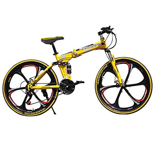 Smallrabbit Outroad Mountain Bike for Adult Teens, (Ship from US)26 Inch Bike Mountain Bikes 21 Speed Folding Bicycle Full Suspension MTB Bike for Men/Women (Yellow)