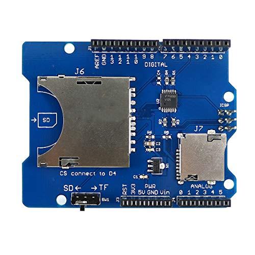 HiLetgo Stackable SD Card TF Card Micro SD Card SD/SDHC/Micro SD/Micro SDHC Card Reader Shield Multi-Functional SD Card Shield Module for Arduino UNO R3 MEGA2560