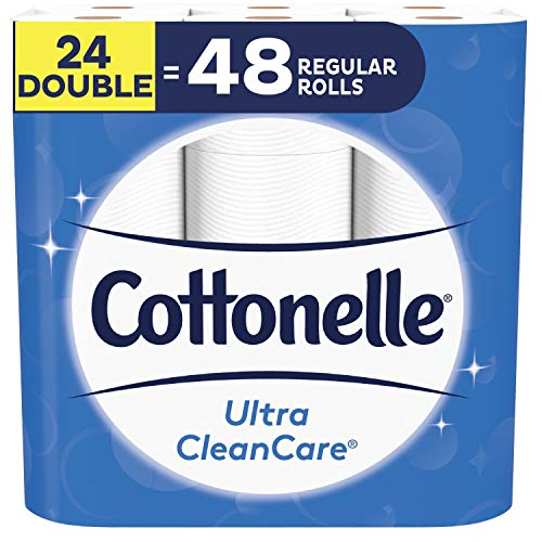 Cottonelle Toilet Paper, 24 Double Rolls (Equal to 48 Regular Rolls), Ultra CleanCare, Soft Bath Tissue, Biodegradable, Septic-Safe