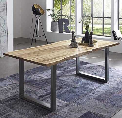 SAM Esszimmertisch 220x100 cm Quintus, echte Baumkante, naturfarben, massiver Esstisch aus Akazienholz, Metallbeine Silber, Baumkantentisch