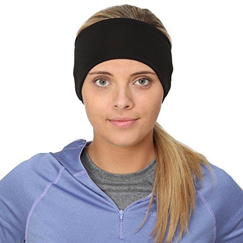 TrailHeads Women's Ponytail Headband | Moisture Wicking Ear Band | The Power Running Headband - black