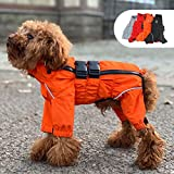 Dogs Waterproof Jacket, Lightweight Waterproof Jacket Reflective Safety Dog Raincoat Windproof Snow-Proof Dog Vest for Small Medium Large Dogs Orange M
