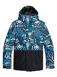 Quiksilver Mission Block-Veste de Ski/Snowboard pour Garçon 8-16 Ans, Black Bark to The Moon, FR (Taille Fabricant : 14/XL)