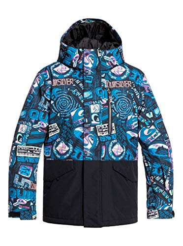 Quiksilver Jungen Mission Block-Schneejacke 8-16, Black bark to The Moon, 12/L