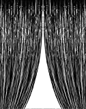 Set of 2 Black Metallic Tinsel Foil Fringe Curtains for Party, Birthday, Wedding, Holiday Photos on a Beautiful Background 3' X 8' (36' X 96')