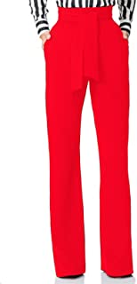 Women Casual Stretch Straight Leg High Waisted Long Work Pants with Belt