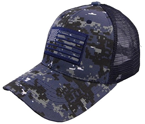 US Flag Patch Tactical Style Mesh Trucker Baseball Cap Hat (One Size, Navy Camo)