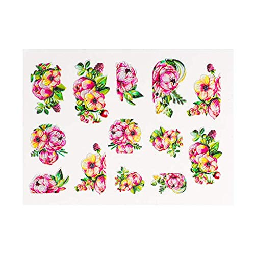 LXDDP 5D Nail Art Aufkleber Geprägte Blumen Transfer Nail Art Aufkleber DIY Nail Art Aufkleber Aufkleber Maniküre TIPP Nail Art Dekoration Aufkleber für den privaten oder professionellen Gebrauch