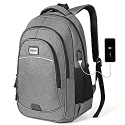 KUSOOFA men's backpack, business laptop backpack, student waterproof notebook backpack, 15,6 inch school backpack with USB charging port, many pockets and compartments (gray)