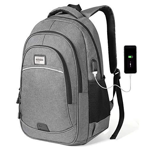 KUSOOFA Mochila Hombre Portátil, Mochila Ordenador Escolar con USB Puerto de Carga Mochila Portátil para Estudiante Hombre 35L (Gris)