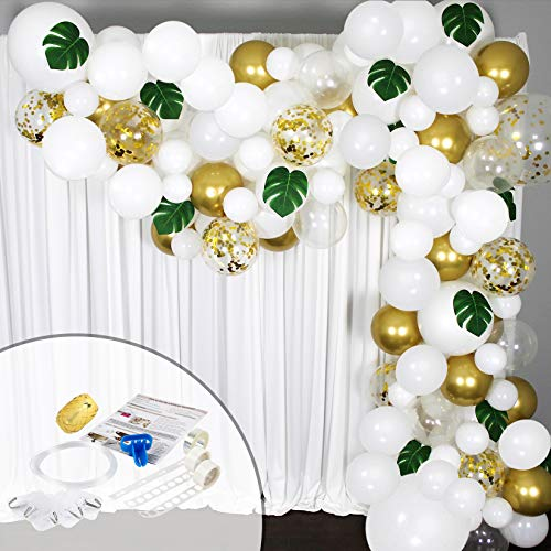Balloon Garland Arch Kit 16 Ft Long - 168 Pieces White, Gold and Confetti - Tropical Palm Leaves Greenery for Baby Shower Decorations, Wedding, Bachelorette, Engagement, Birthday Party, Anniversary