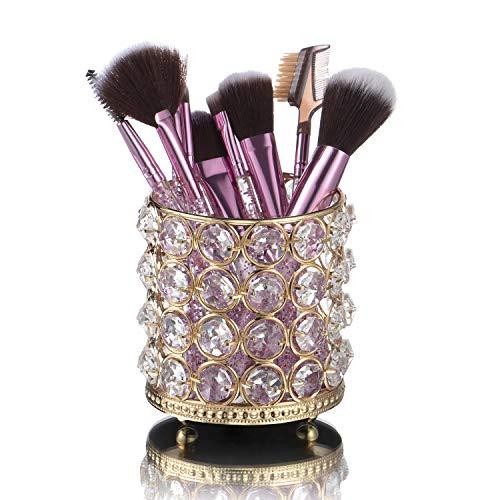 Organizador de Maquillaje, Jolintek Organizador de Brocha de Maquillaje, Portalápices Redondo Retro Cristal Organizador Maquillaje Organizador de Escritorio para Baño, Oficina y Hogar (Dorado)