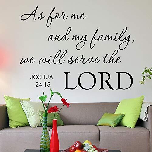 pegatinas de pared Per quanto riguarda me e la mia famiglia, serviamo il Signore a casa Dio religioso Bibbia