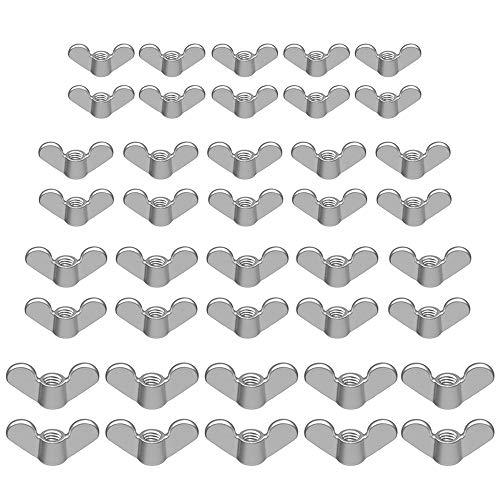 Zasiene Ecrou Papillon 80 Pièces Ecrous à Ailettes M4 M5 M6 M8 Ecrou à Oreille pour Kit Outils Fixations de Bricolage