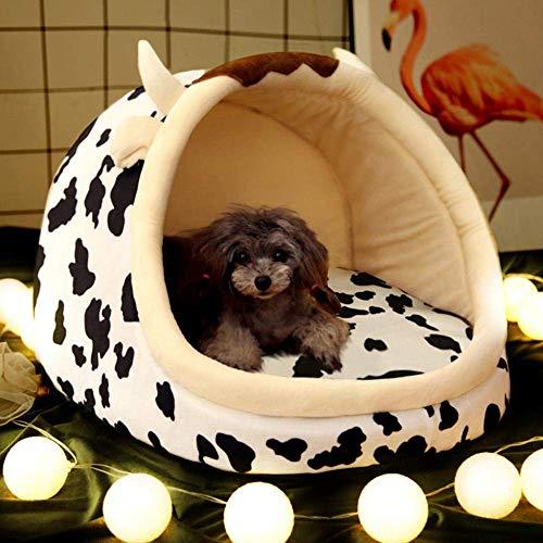 Hundehütten Four Seasons Universal-Cat Nest Kleiner Hund abnehmbar und waschbar Kennel mit dem Haustier-Bett-Verrückte Cow_S8 8bayfa