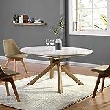 Cherry Tree Furniture Mesa de Comedor Extensible de Color Blanco de Alto Brillo de 4 a 6 plazas Redonda a Ovalada