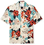 Amazon Brand - 28 Palms Men's Relaxed-Fit Silk/Linen Tropical Hawaiian Shirt, Natural/Blue/Pink Floral, Large