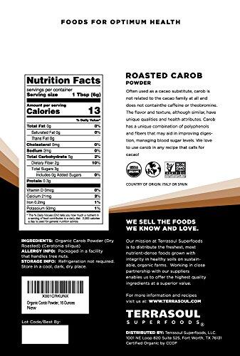 Terrasoul Superfoods Organic Carob Powder, 1 Lb - Cocoa Powder Alternative | High in Fiber