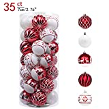 Valery Madelyn 35ct 70mm Traditional Red and White Shatterproof Christmas Ball Ornaments Decoration,Themed with Tree Skirt(Not Included)