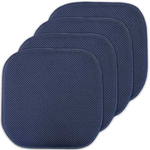 Sweet Home Collection Memory Foam Chair Cushion Honeycomb Pattern Solid Color Slip Non Skid Rubber...