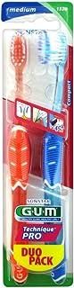 GUM Technique Pro Medium Toothbrush, Assorted, Pack of 2