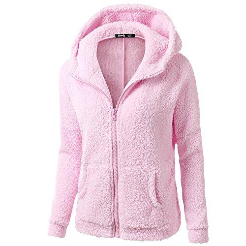 iHENGH Damen Winter Jacke Dicker Warm Bequem Slim Parka Mantel Lässig Mode Frauen Mit Kapuze Pullover Wolle Reißverschluss Baumwollmantel Outwear(Rosa, 2XL)