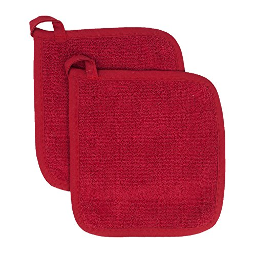 Ritz Royale Collection 100% Cotton Terry Cloth Pot Holder Set, Kitchen Hot Pad, 2-Pack, Paprika Red