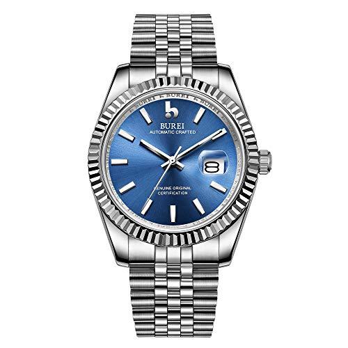 BUREI Herren Automatik Armbanduhr Elegantes Modell Klassisches Design Synthetisches Saphirglas Gold Edelstahlband