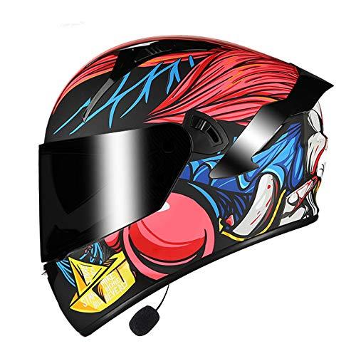 MOMOJA Casco Bluetooth Integrado para Motocicleta, Casco Integral, Antiniebla, Doble Espejo, Casco Abatible, Casco De Seguridad Aprobado por ECE H,XXL