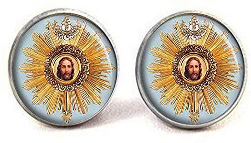 Gemelos de la medalla católica del Santísimo Sacramento, joyas religiosas de Jesucristo, joyas de Jesús, arte de imagen