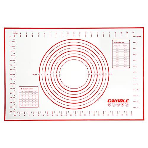 GWHOLE Silikonmatte Backmatte Silikon Teigmatte Wiederverwendbar Antihaft rutschfest mit Messung, 60 x 40 cm