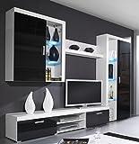 Furniture24 Wohnwand Samba - B Anbauwand Lowboard Hängevitrine Schrank Hängeregal Mediawand (Weiß/Schwarz Hochglanz)