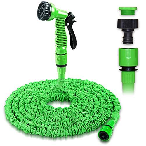 NAmobile Gartenschlauch Dehnbarer Wasserschlauch Flexibel 7,5m - 75m Wasser Pool Schlauch, Farbe:Grün, Länge:75 Meter