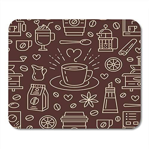 Muispads koffie zoete dranken warme dranken platte lijn koffiemachine bonen mok molen herhalen voor cafe muismat