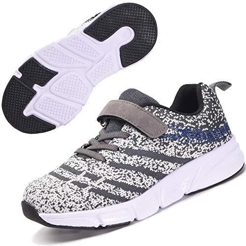 Kinder Turnschuhe Mädchen Leichte Sportschuhe Jungen Laufschuhe Hallenschuhe Outdoor Casual Sneaker Schuhe Grau-2 33