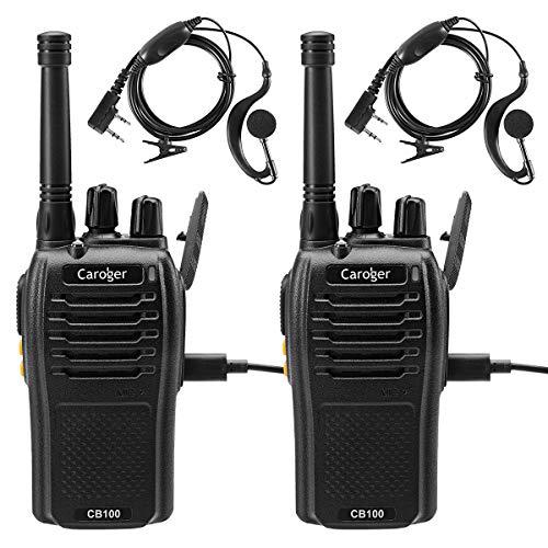 Caroger Wiederaufladbarer Walkie Talkie Business Funkgerät PMR 446MHz 16 Kanäle Long Range Schwarz (2 Packs)