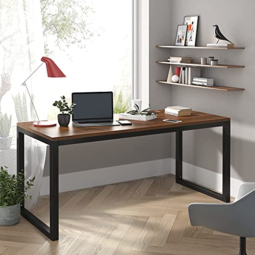 """Allewie 55"""" Computer Desk, Modern Writing Gaming Desk for Home Office, Small Wood Table Top Workstation, Black Sturdy Metal Frame, Rustic Simple Industrial Design, Easy Assembly, Walnut"""