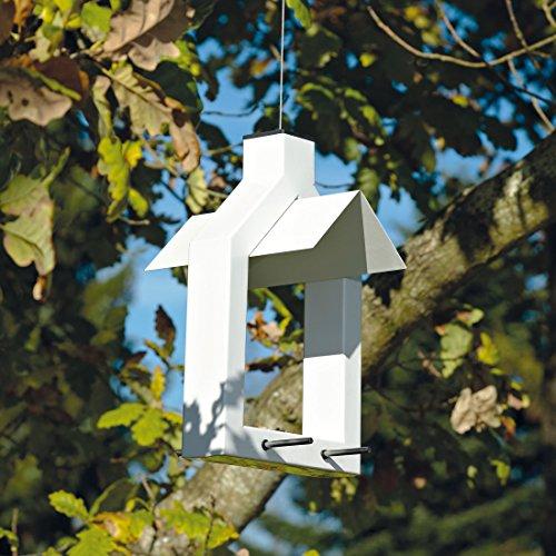 Zone d'extérieur Alicante 8211916 – Distributeur de Graines pour Oiseaux Sauvages Métal Table Double Perche en blanc