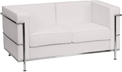 Amazon Com Flash Furniture Hercules Regal Series Contemporary White Leathersoft Sofa With Encasing Frame Furniture Decor