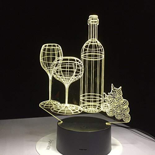 Copa de vino Botella Acrílico Amigos Birhtday Sleep Night Light 3D LED Lámpara de mesa niños regalo de cumpleaños decoración de la habitación junto a la cama