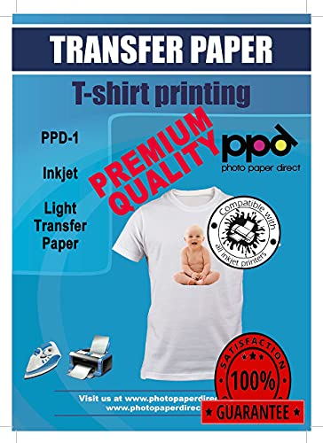 """PPD Inkjet PREMIUM Iron-On White and Light Color T Shirt Transfers Paper LTR 8.5x11"""" Pack of 10 Sheets (PPD001-10)"""